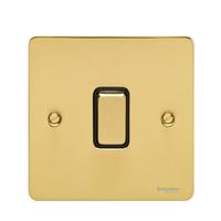 Flat Plate Polished Brass 16AX 1G 2 Way Switch Black | LV0701.0134