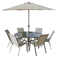 Copenhagen 8 pce Rnd Table Set W/Parasol Brn Box W/Col Label, Ch