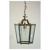 1 Light Panel Lantern Antique Brass