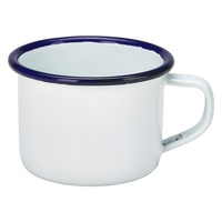 Enamel Mug White with Blue Rim 4.2oz