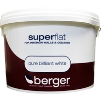 BERGER SUPERFLAT EMULSION PAINT BRILLIANT WHITE 10 LTR