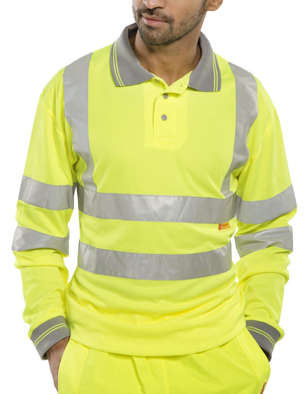 Long Sleeved Yellow Hi-Visibility Polo Shirt