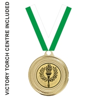 40mm Medal with Centre & GREEN Ribbon (Gold)