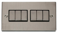 Click Deco Victorian Stainless Steel with Black Insert 6 Gang 2 Way 'Ingot' Switch | LV0101.0079