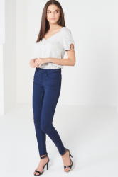 Dark Blue High Waist Stretch Denim Skinny Jeans
