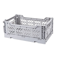 CRATE FOLDING PLASTIC GREY 40X30X10CM