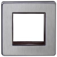 DETA Screwless '2 mod data plate Satin Chrome Black Insert | LV0201.0156