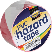 "SAFTRW2"""" PVC S/ADHESIVE HAZARD TAPE RED/WHITE 50MM X 33M"