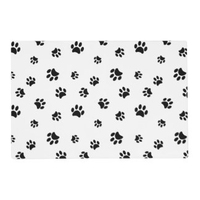 Paw Print Place Mat - Black Paw Prints on White x 10