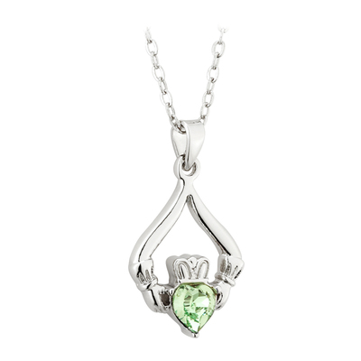 RHODIUM PLATED CLADDAGH BIRTHSTONE - AUGUST