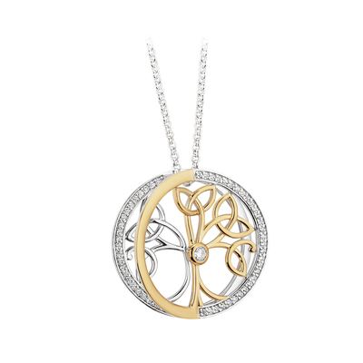 S/S & GP CZ TREE OF LIFE PENDANT