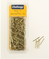 Challenge Brass Panel Pins 20mm Clam Pk 75g