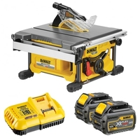 DEWALT DCS7485T2 54V XR Table Saw Flexvolt 210mm c/w box, charger, 2 x DCB546 6.0ah Li-ion FLEXVOLT BATTERIES (DeWALT Special Discount Price)