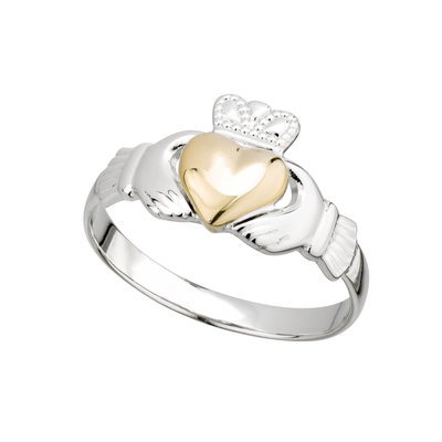 STERLING SILVER GOLD HEART CLADDAGH RING