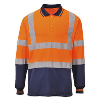 Portwest Two-Tone Long Sleeved Polo Hi-Vis Orange/Navy
