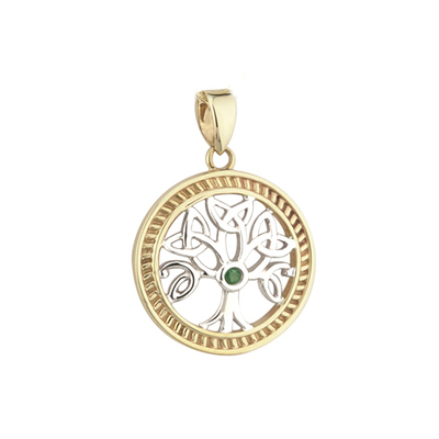 14K TWO TONE EMERALD TREE OF LIFE CHARM