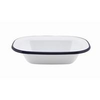 Rectangular Pie Dish Enamel White With Blue Edge 18x13.5x4cm