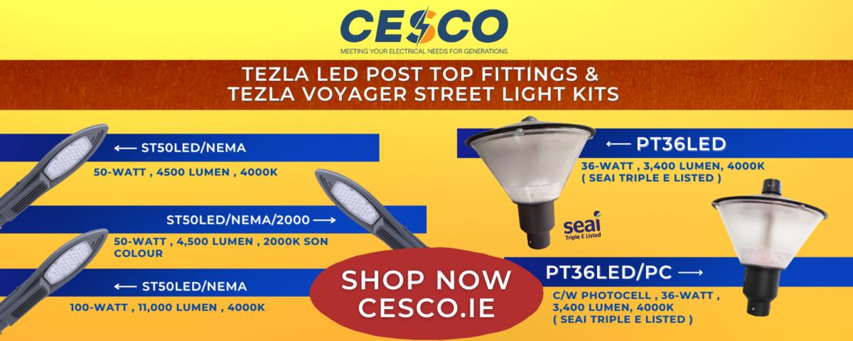 TEZLA LED Post Top Fittings & Voyager Street Light Light Kits