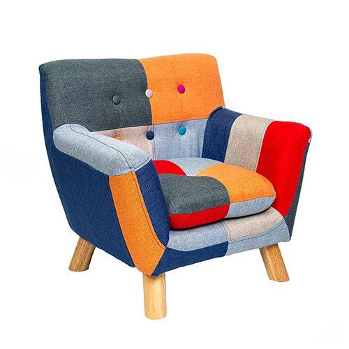 Annah Linen Patchwork Kids Chair