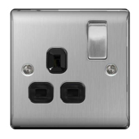 NEXUS BRUSHED STEEL 13A 1 GANG DOUBLE POLE SWITCHED SOCKET BLACK