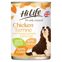 HiLife 'ION' Dog Can Chicken Terrine with Sweet Potato & Broccoli 395g x 6