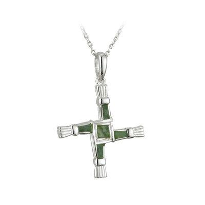 sterling silver connemara marble st brigids pendant s44703 from Solvar