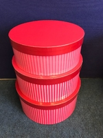 HAT BOX RED STRIPE SET OF 3 BOXES ** AVAILABLE NOVEMBER**