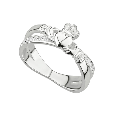 STERLING SILVER CLADDAGH CROSSOVER RING