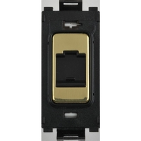 Flatplate Grid Polished Brass Telephone Point Module|LV0701.1337