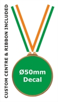 55mm Medal / CUSTOM Centre & TRI Ribbon (B)