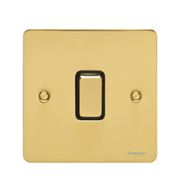 Flat Plate Polished Brass 16AX 1G 2 Way Switch Black | LV0701.0134