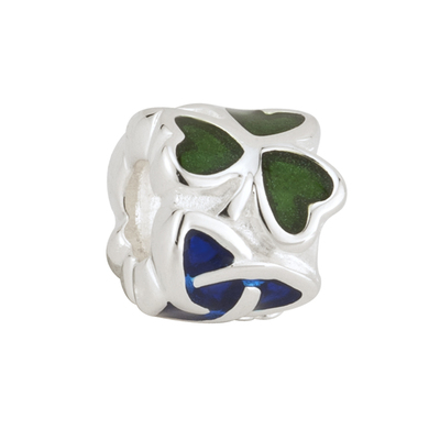 GREEN & BLUE SHAMROCK TRINITY BEAD