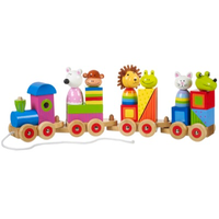 wooden pull-along toy train with stacking blocks and animal characters