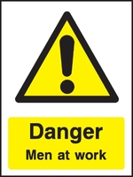 Danger Men At Work Sign 600x400mm