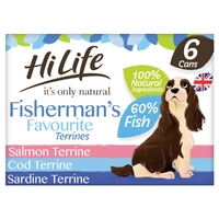 HiLife 'ION' Dog Can Fisherman's Favourite Terrines 6pk x 2