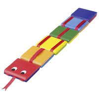 Colourful wooden Jacobs Ladder Toy that looks like a snake