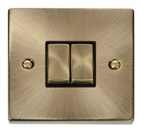 Click Deco Victorian Antique Brass with Black Insert 2 Gang 2 Way 'Ingot' Switch | LV0101.0006