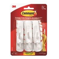Command 6 White Medium Hooks, Value pack 17001VP