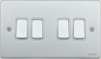 Schneider Ultimate Low Profile 4gang switch Brushed Chrome with White Insert | LV0701.0004