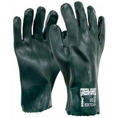 Green Shield PVC Double Dipped 27cm Gauntlet Sandy Finish Gloves Carton 72