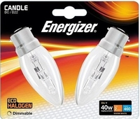 ENERGIZER ECO HALOGEN 33W (40W) B22 CLEAR CANDLE LAMP CARD 2