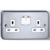 Vimark 2 Gang 13A Metalclad Switch Socket