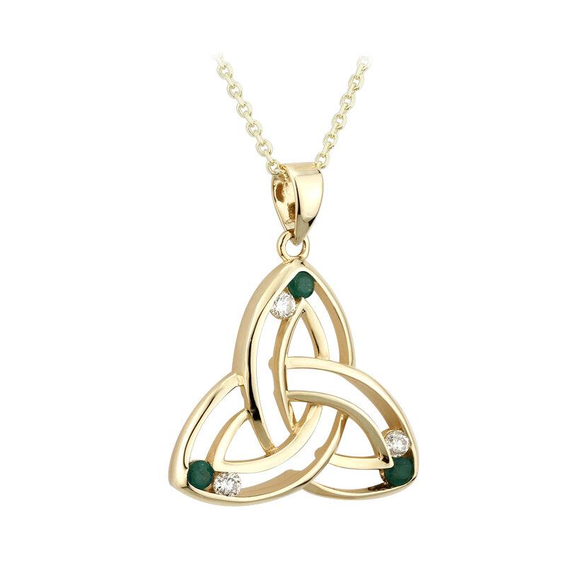 14k gold diamond and emerald trinity knot pendant s45586 from Solvar