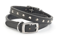 "Ancol Studded Leather Collar Black Size 3 16"" x 1"