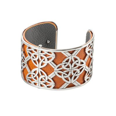 LEATHER RHODIUM PLATED WIDE TRINITY KNOT CUFF BANGLE (BOXED)