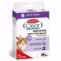 Bob Martin Flea-Clear SKIN-KIND Spot-On Small CAT Flea Drops 3 Tube x 1