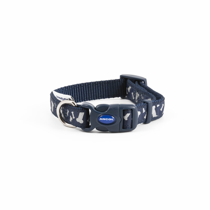 Ancol Paw and Bone Adjustable Reflective Blue Dog Collar 20 - 30cm