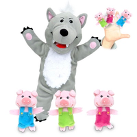 The Big Bad Wolf and Three Little Pigs Hand and Finger Puppet set