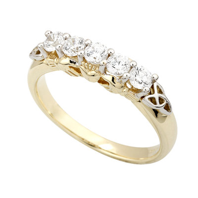 9K CZ CLADDAGH ETERNITY RING(BOXED)
