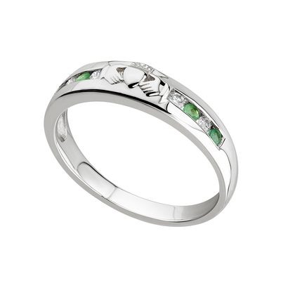 14K DIAMOND & EMERALD CLADDAGH ETERNITY RING